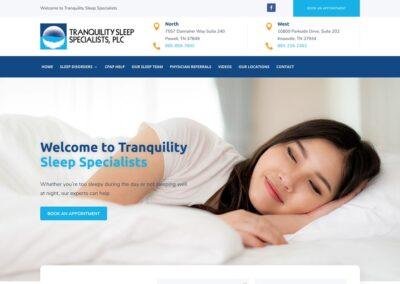Tranquility Sleep Specialists Website Design